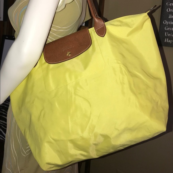 Longchamp Handbags - Longchamp Le Pliage Large Bright Yellow Tote Bag 9bfc2242bb29e